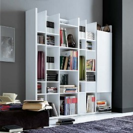 White shelving for home library books