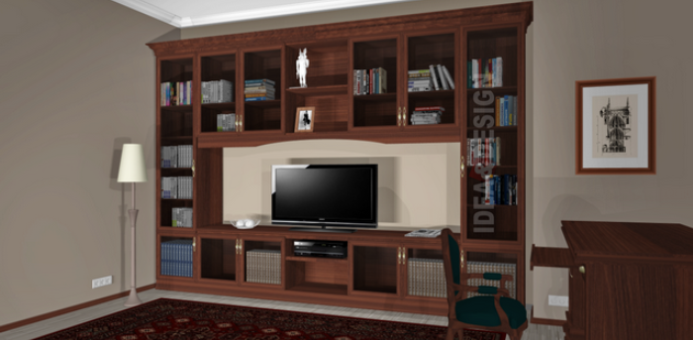 Large bookcase for the study of a country house