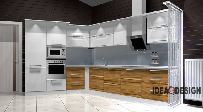 Kitchen design project with unfolded corner
