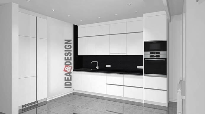 The design of the project corner kitchen in gloss
