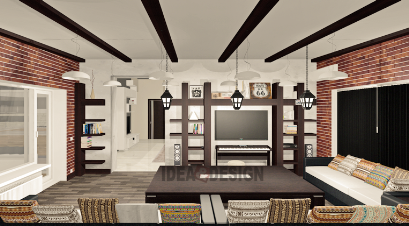 Design project of the living room under the order of veneer