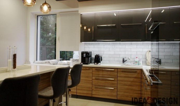 Corner kitchen design by size