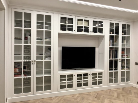 Bookcase with glass for living room