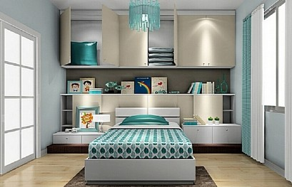 Bed with wardrobe in teen's room