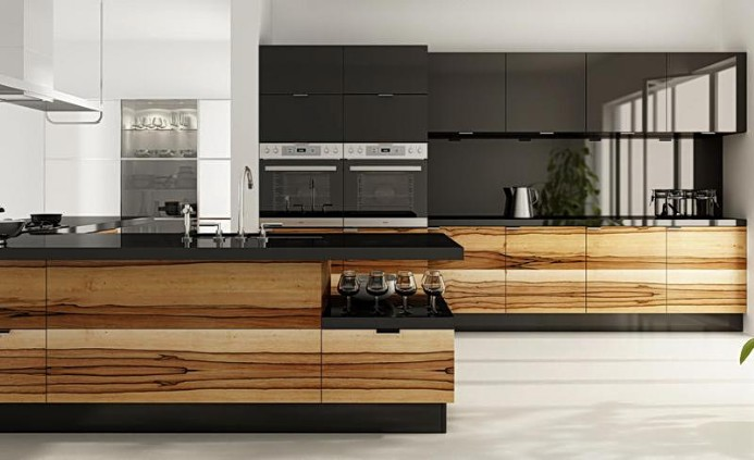 Kitchen veneer with glossy facades to order in Moscow