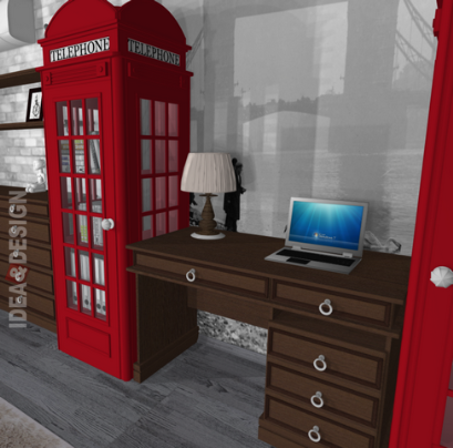 Bookcase in the style of a British telephone booth