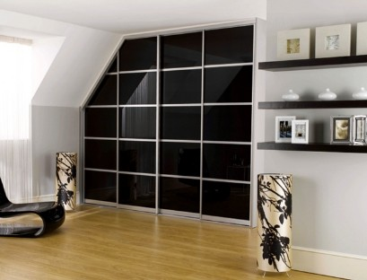 Attic wardrobe with glass doors
