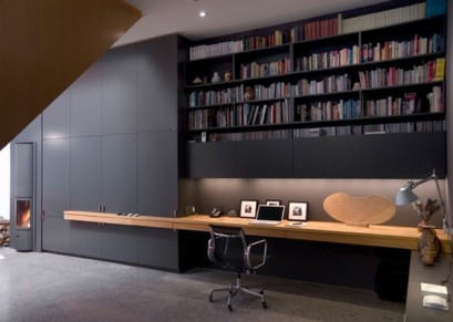 Wardrobe with table and built-in library