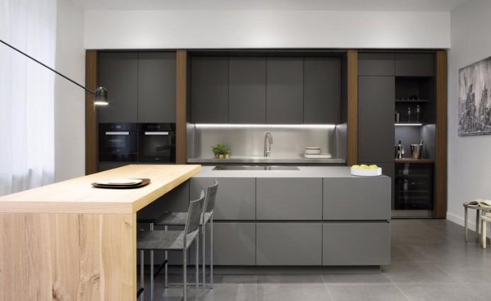 The modern kitchen is custom made