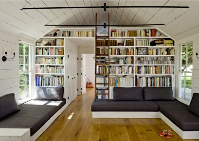 Wall library in the attic