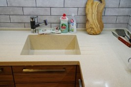 Built-in sink in the kitchen countertop