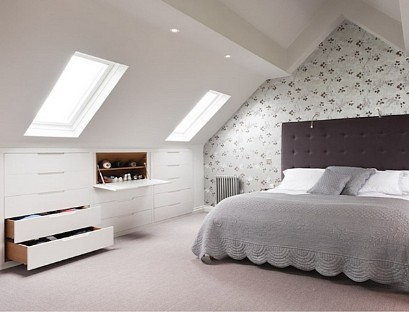 Built-in chest of drawers on the attic floor